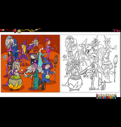 cartoon witches fantasy characters coloring book vector image