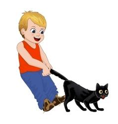 Children play outdoors hoodlum cheerful little vector image