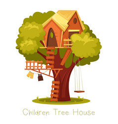 Children wooden house on oak tree with ladder and vector