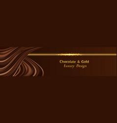 Chocolate wave silk luxury background with golden vector