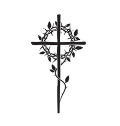 christian cross and thorn crown vector image