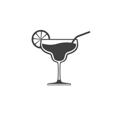 cocktail glass icon with lime and tube isolated vector image
