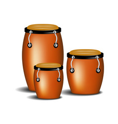congas the percussion of music band with shadow vector image