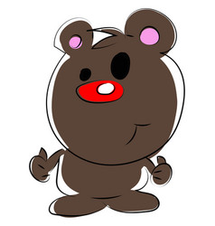 cute bear with red nose on white background vector image