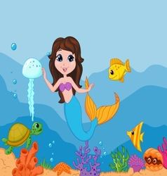 Cute mermaid cartoon waving hand vector