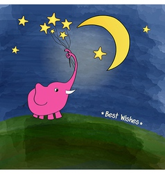 Cute pink elephant with a bouquet of stars vector