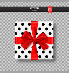 Decorative gift box with red bow and ribbon vector