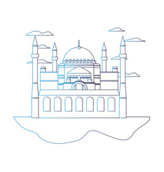 Degraded line taj mahal in india and nice clouds vector
