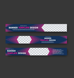 Design of horizontal purple web banners with vector