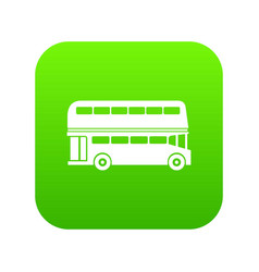 double decker bus icon digital green vector image