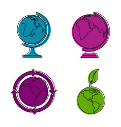 earth icon set color outline style vector image