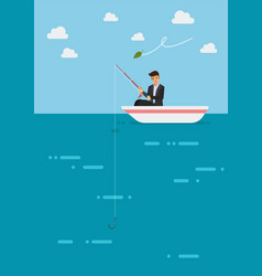 Failure businessman fishing money vector
