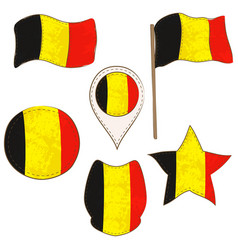 flag of the belgium performed in defferent shapes vector image