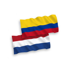 Flags colombia and netherlands on a white vector