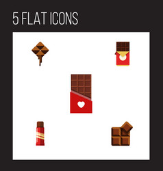 Flat icon bitter set of chocolate bar cocoa vector
