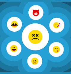 flat icon expression set of cheerful laugh vector image