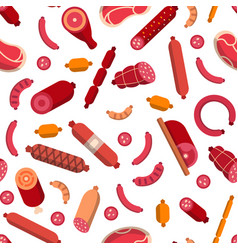 flat meat and sausages icons pattern vector image