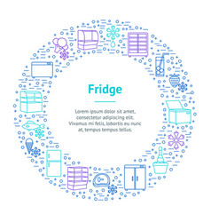 Fridge thin line banner card circle vector