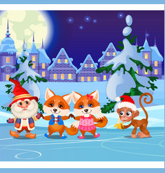 funny animals and animated gnome on the ice rink vector image