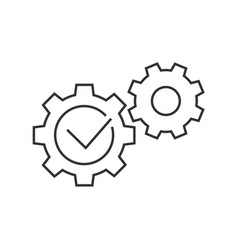 gears with check mark line icon on white vector image