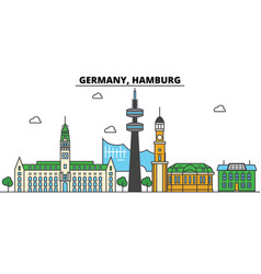 Germany hamburg city skyline architecture vector