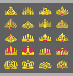 Gold crowns inlaid with rubies for royalty set vector