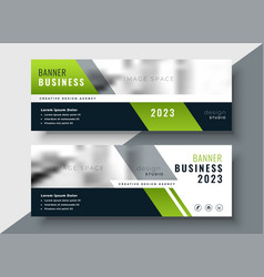Green geometric business banner with image space vector