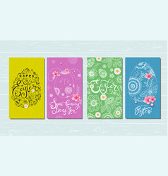 happy easter banner greeting card with hand drawn vector image