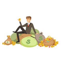 Happy rich successful businessman character vector