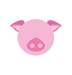 head cute piggy animal image vector image