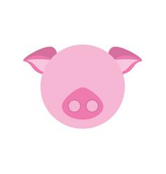 Head cute piggy animal image vector