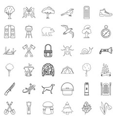Hiking icons set outline style vector