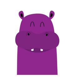 Hippopotamus hippo face head icon kawaii animal vector