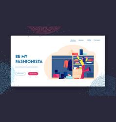 home wardrobe website landing page woman choosing vector image