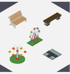 isometric city set of recreation crossroad swing vector image