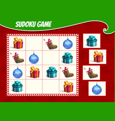 kids sudoku game with christmas gifts and toys vector image