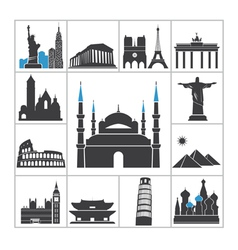 Landmark travel icons vector