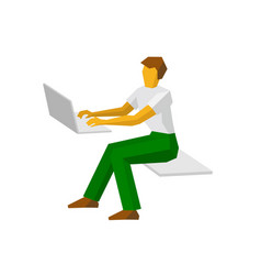 Man working at a laptop vector
