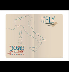 Map of italy drawn by hand in an open stapled vector