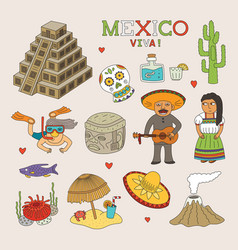 mexico doodle art for travel and tourism vector image