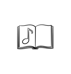 Music book with note hand drawn sketch icon vector