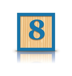 Number 8 wooden alphabet block vector