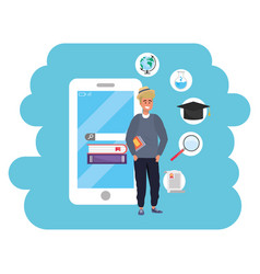 Online education millennial student smartphone vector