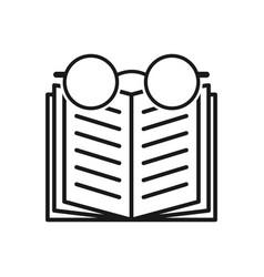 Open book icon glasses icon black vector