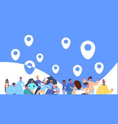 People group flying geotag icon on blue background vector