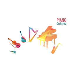 Piano Orchestra Set of Music Instruments vector