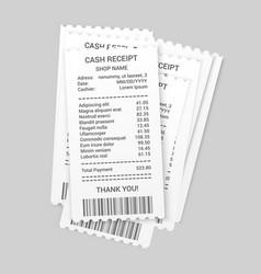 Pile paper cash receipts template vector