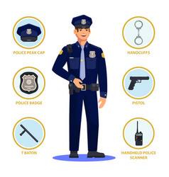 policeman or police officer cop in uniform vector image