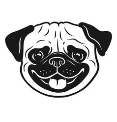 Pug dog black and white hand drawn cartoon vector