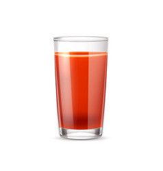 Realistic tomato juice in glass 3d vector